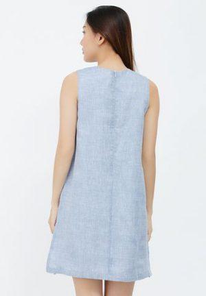 Đầm chữ A Kimi màu xanh da trời túi thêu hình