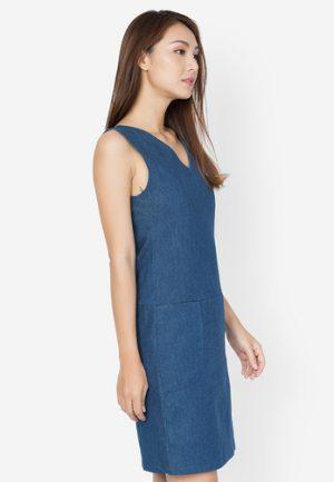 Đầm suông Lovadova màu jean cổ V