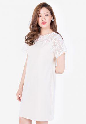 Đầm suông Lovadova phối ren màu be